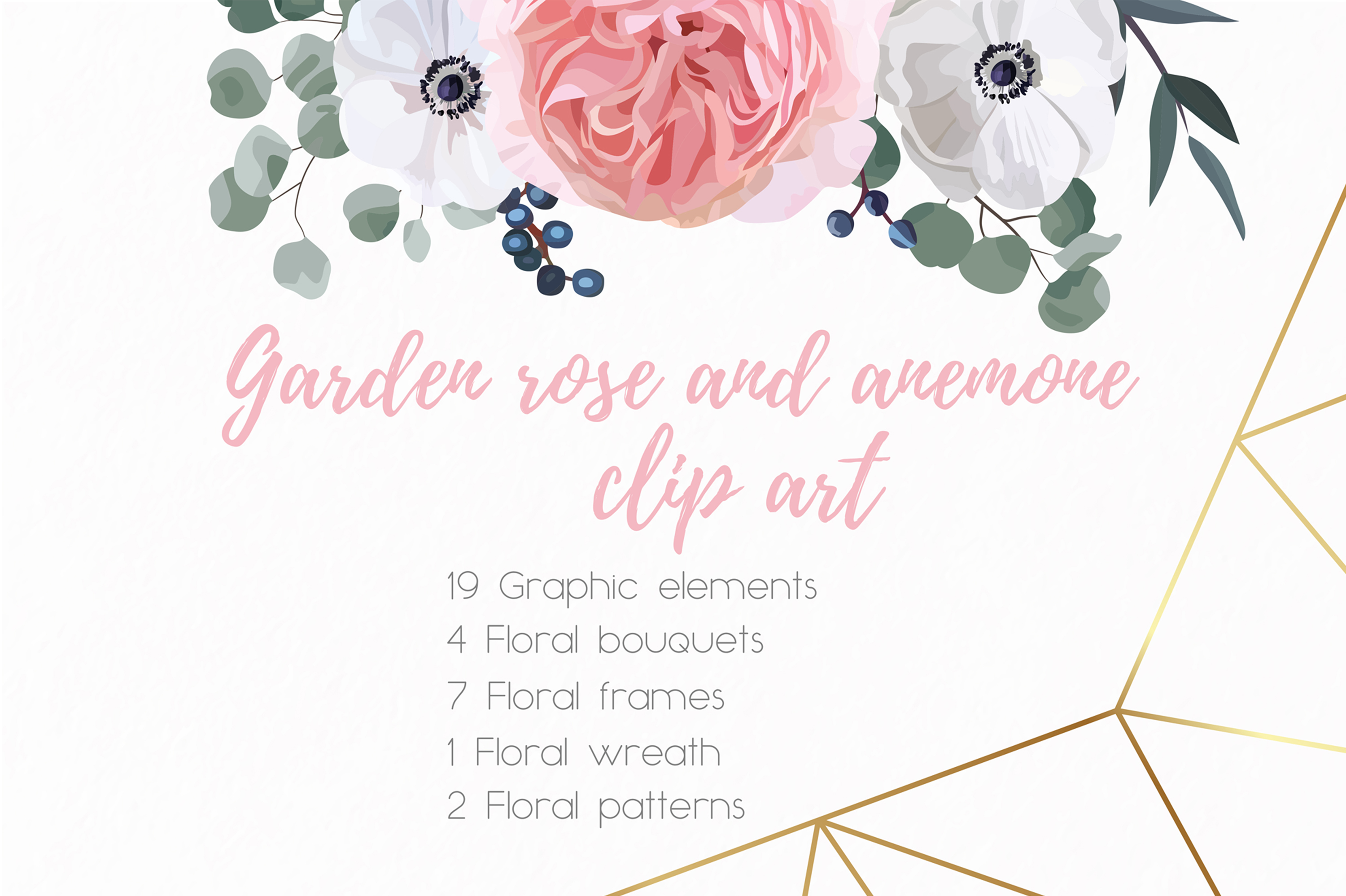 Garden Rose and Anemone - floral vector set example image 3