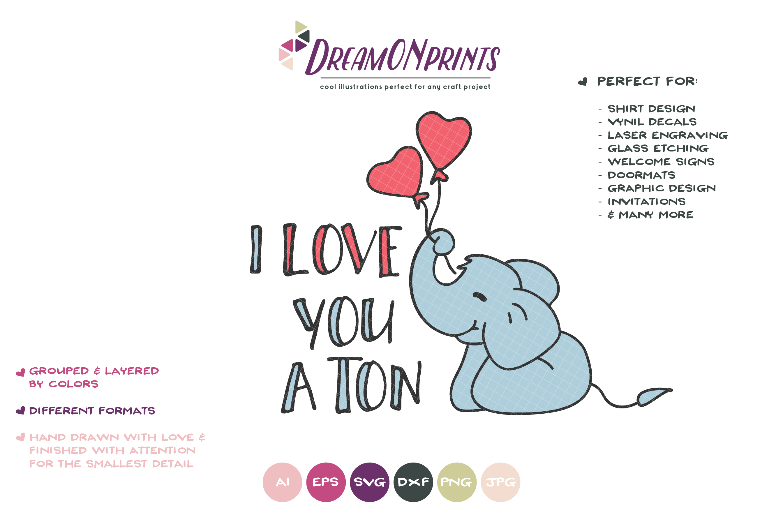 Elephant SVG Cut File - I Love You a Ton example image 3