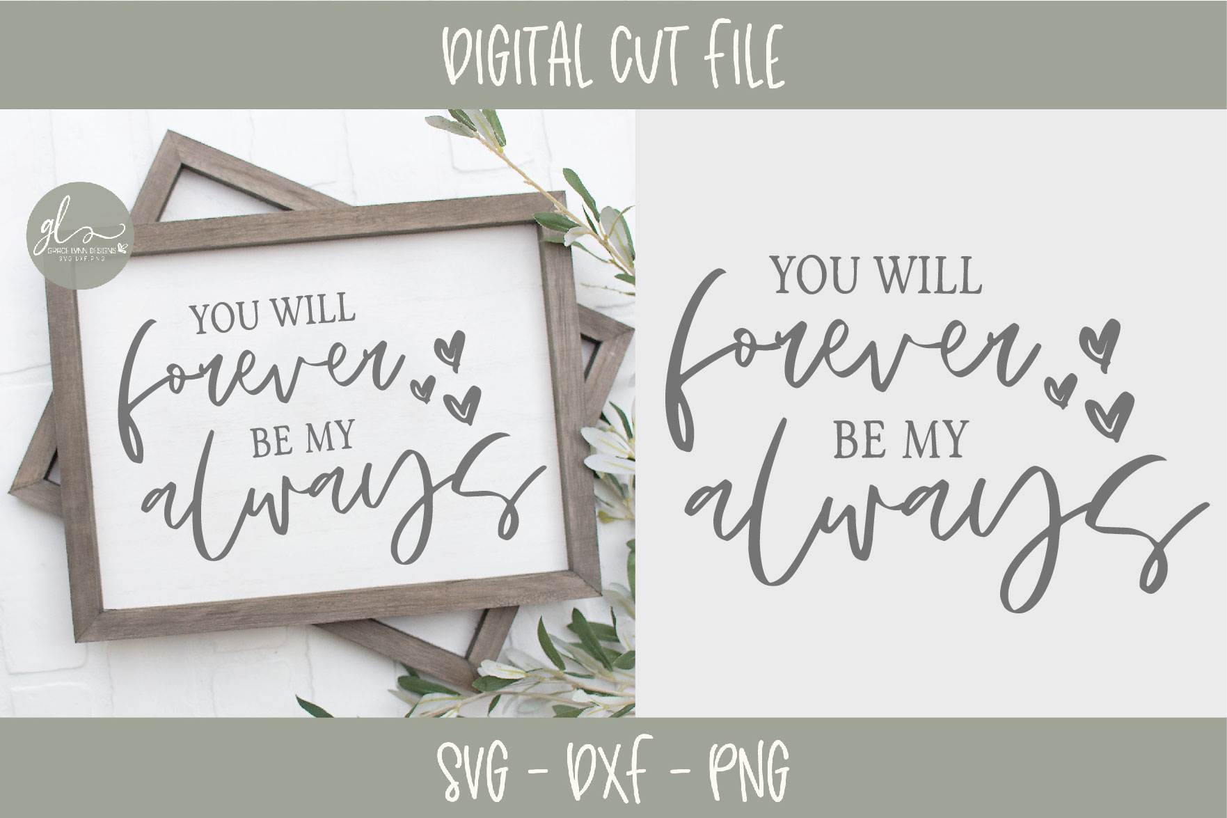 You Will Forever Be My Always - Wedding Sign SVG Cut File example image 1