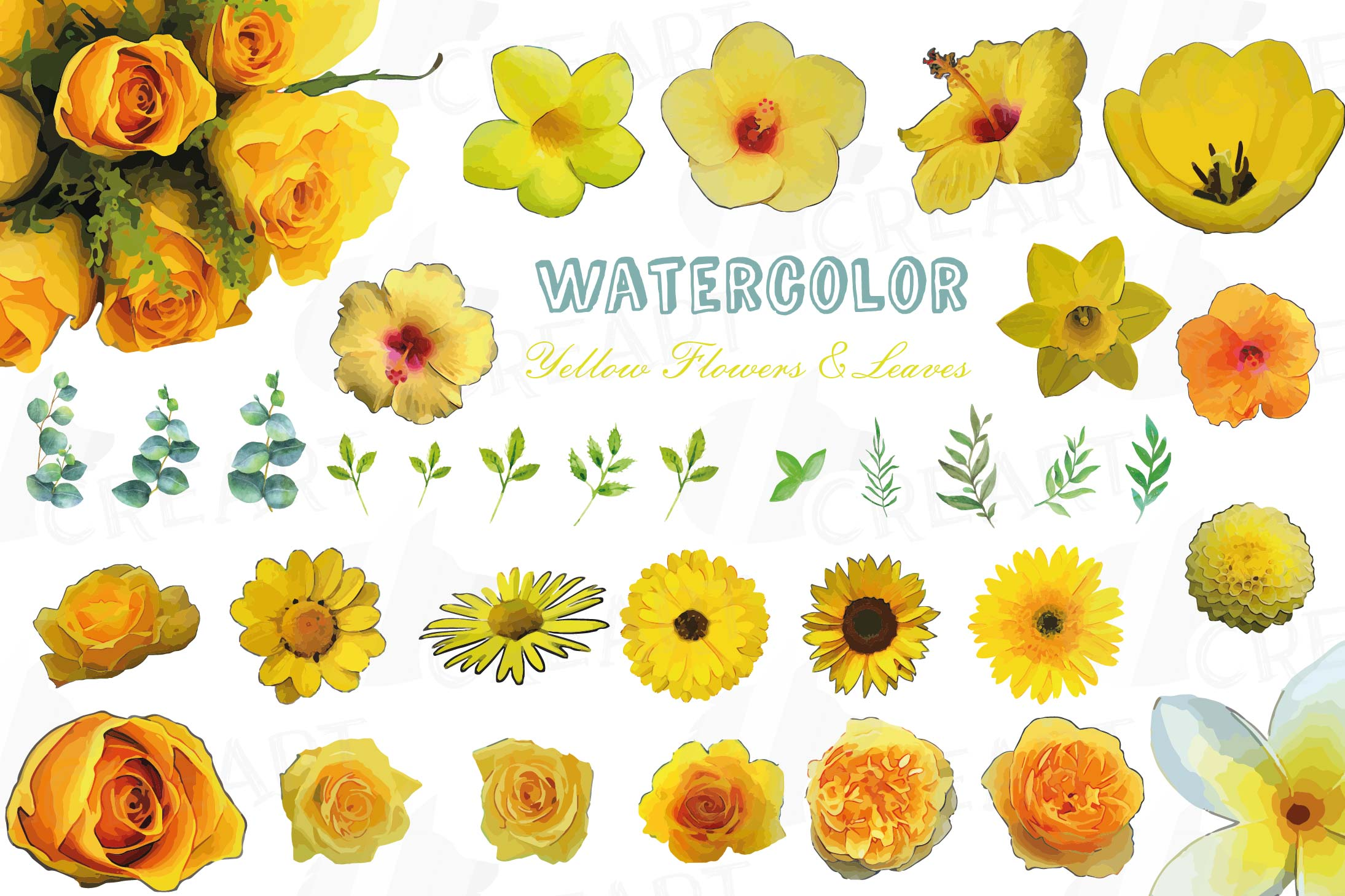 Watercolor yellow flowers and green leaves clip art pack example image 1