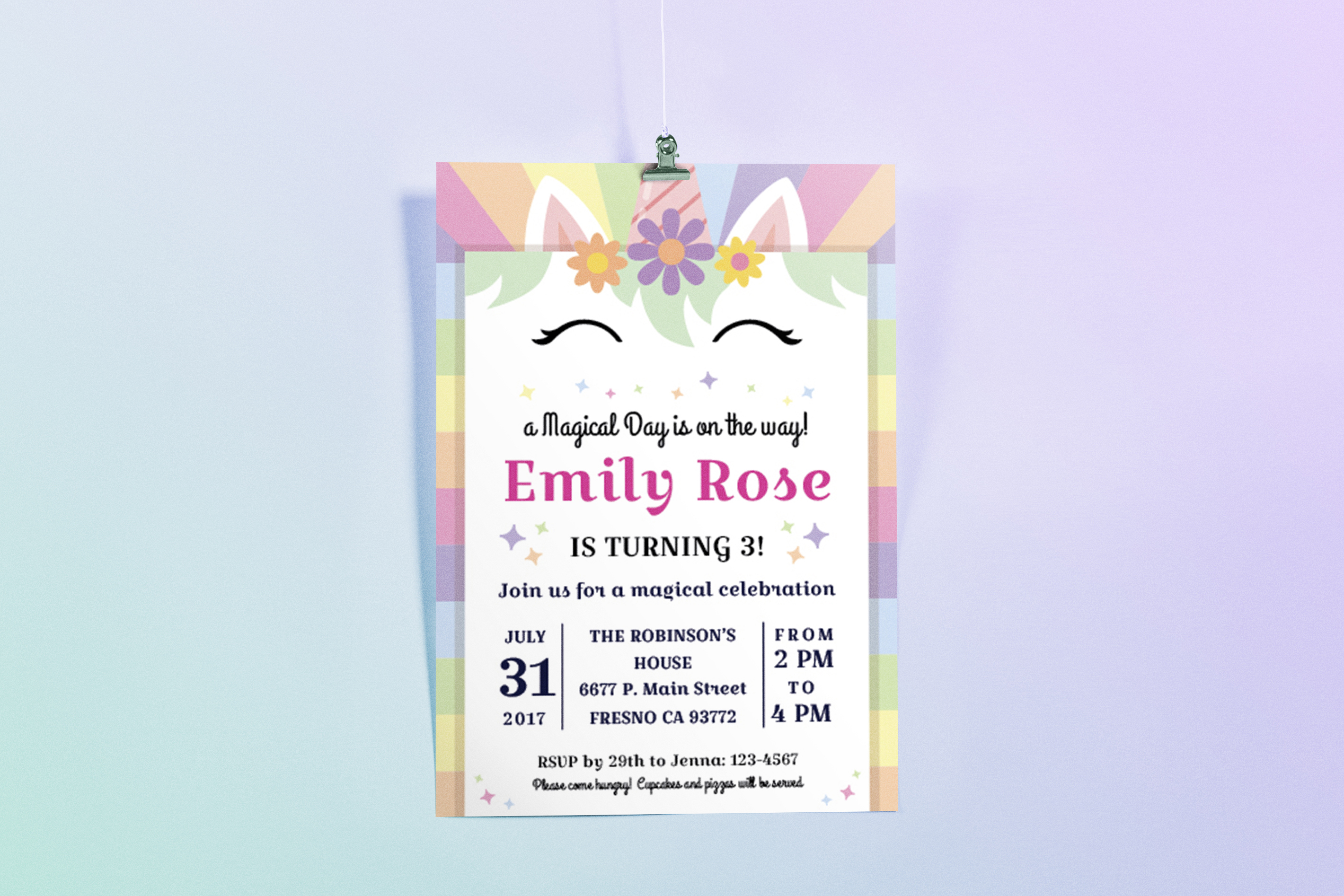 Happy Unicorn Birthday Party Invitation Example Image 1