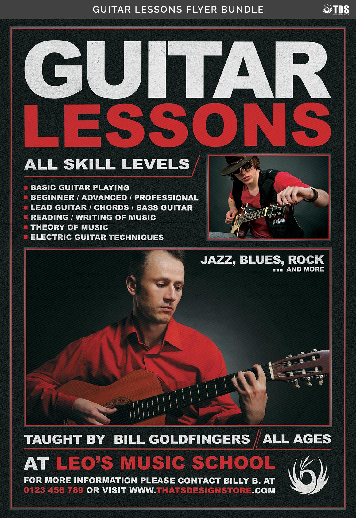 Guitar Lessons Flyer Bundle example image 12