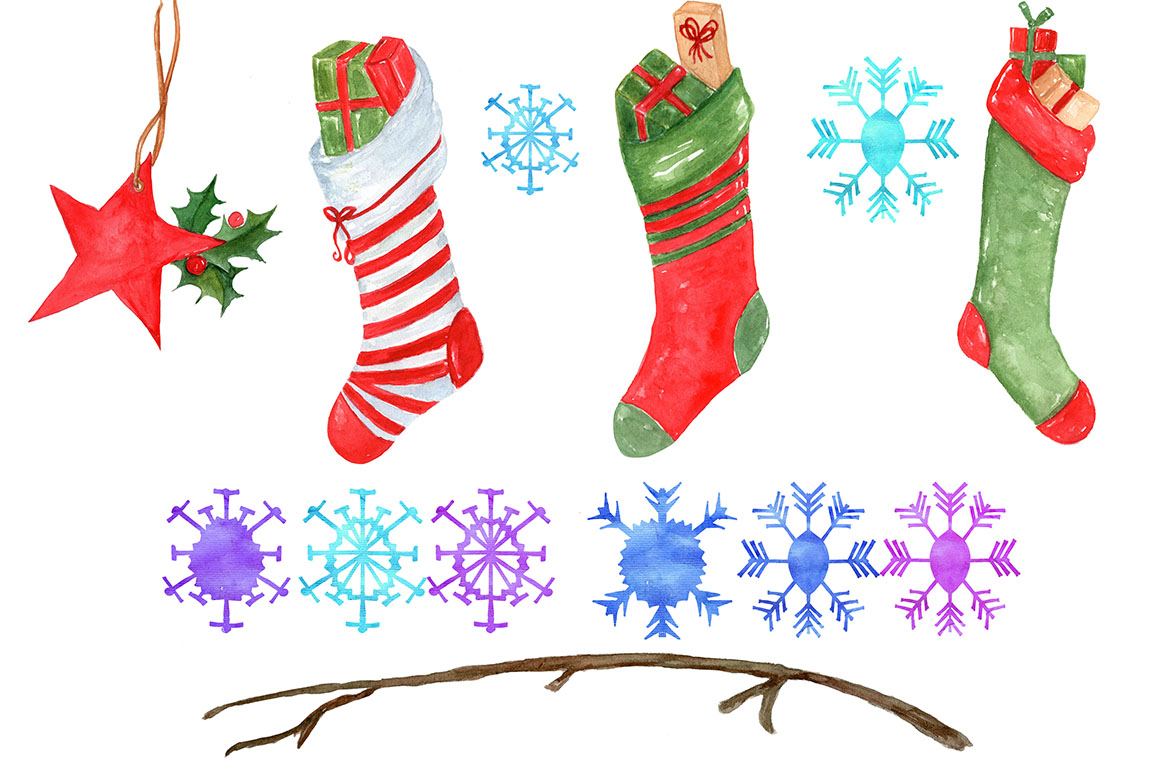 Watercolor Christmas clipart example image 3