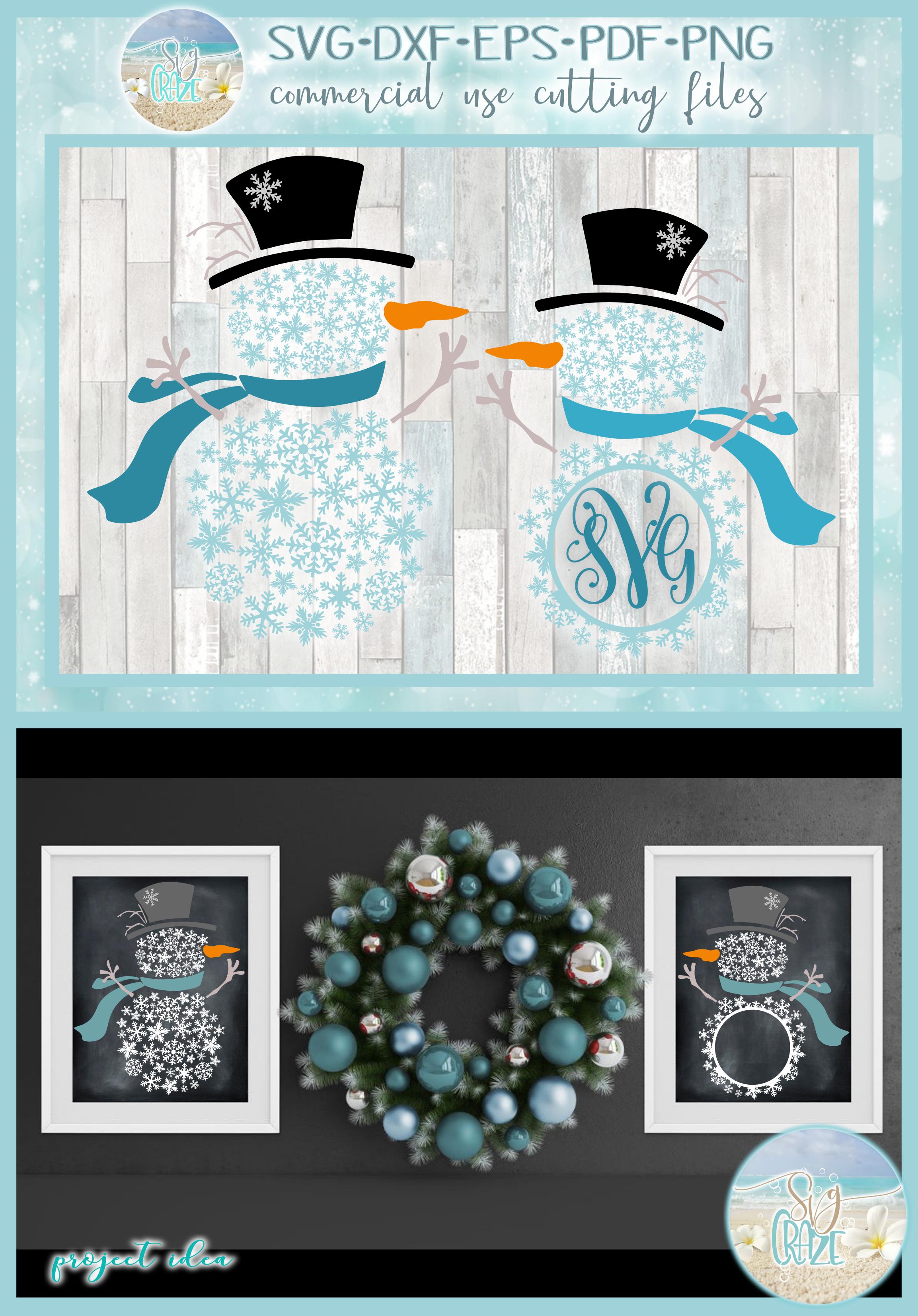Snowflakes Snowman Monogram Svg Dxf Eps Png Pdf example image 4
