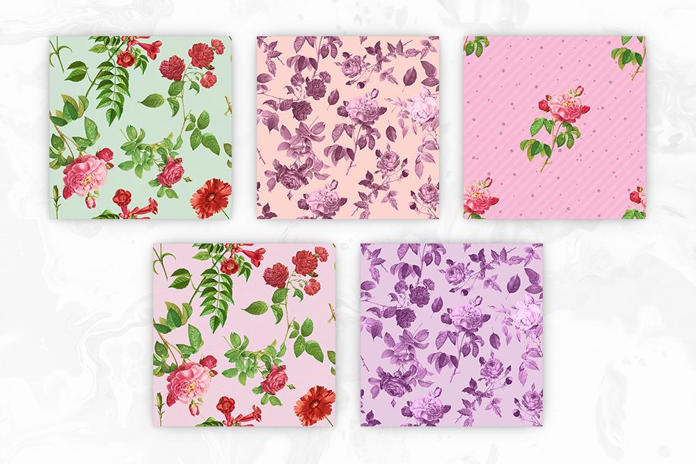 Vintage Flowers Seamless Patterns example image 2