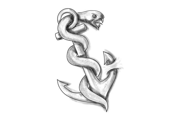 Asclepius Snake Curling Up on Anchor Tattoo example image 1