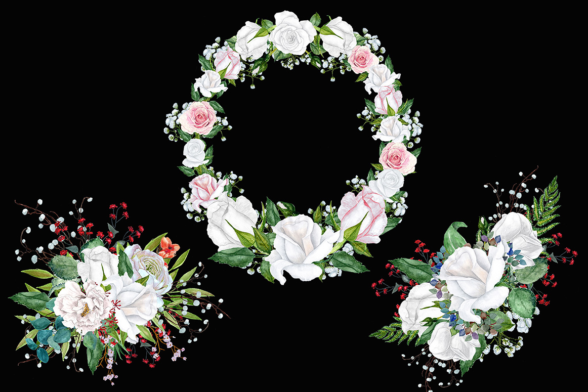 Watercolor roses wreaths clipart example image 3