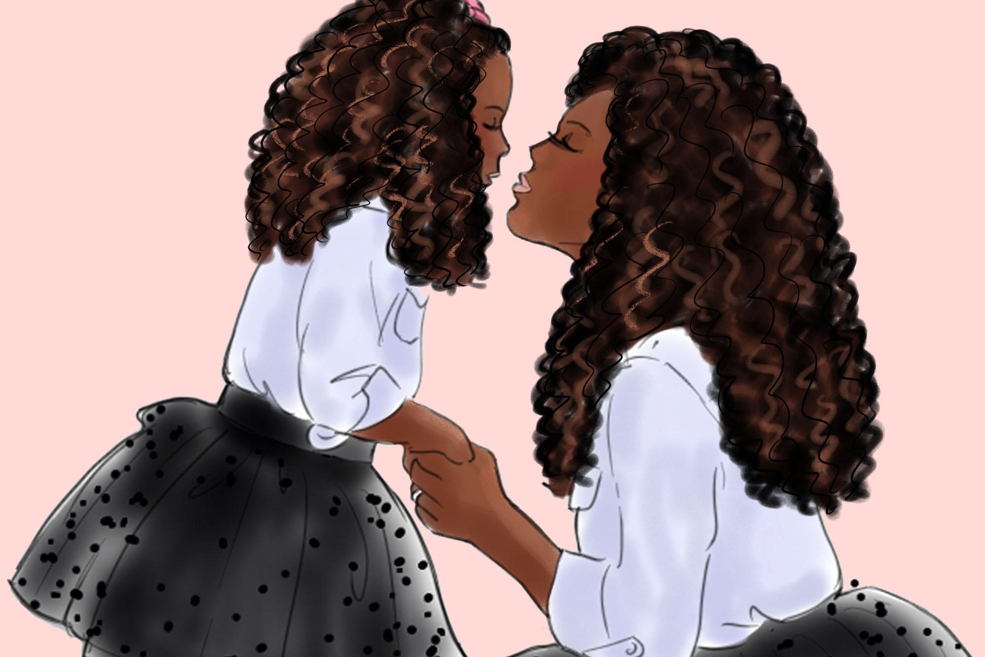 Fashion illustration - Mommy & Me 1 - Dark Skin example image 2