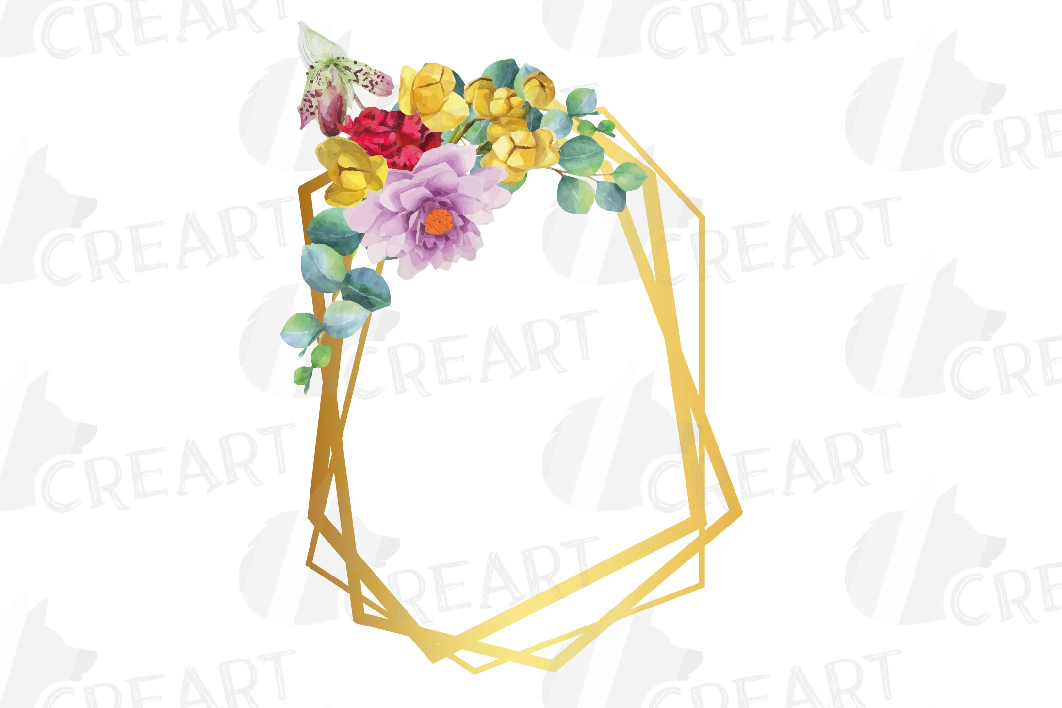 Watercolor floral golden frames and borders clip art pack example image 13