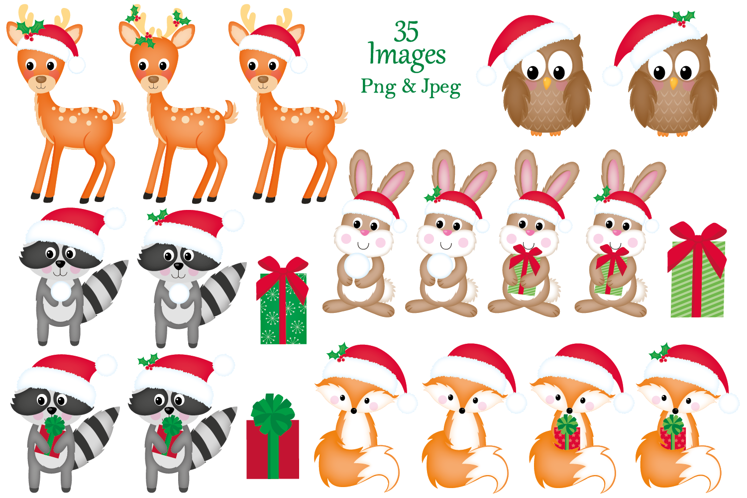 Christmas clipart,Christmas graphics & illustrations,Animals example image 2
