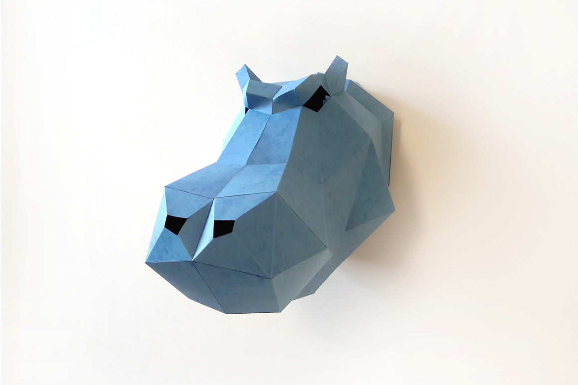 DIY Hippo head Trophy - 3d papercraft example image 3