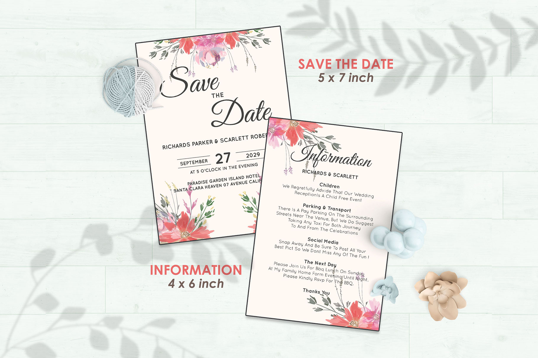 Wedding Invitation Set #14 Watercolor Floral Flower Style example image 3