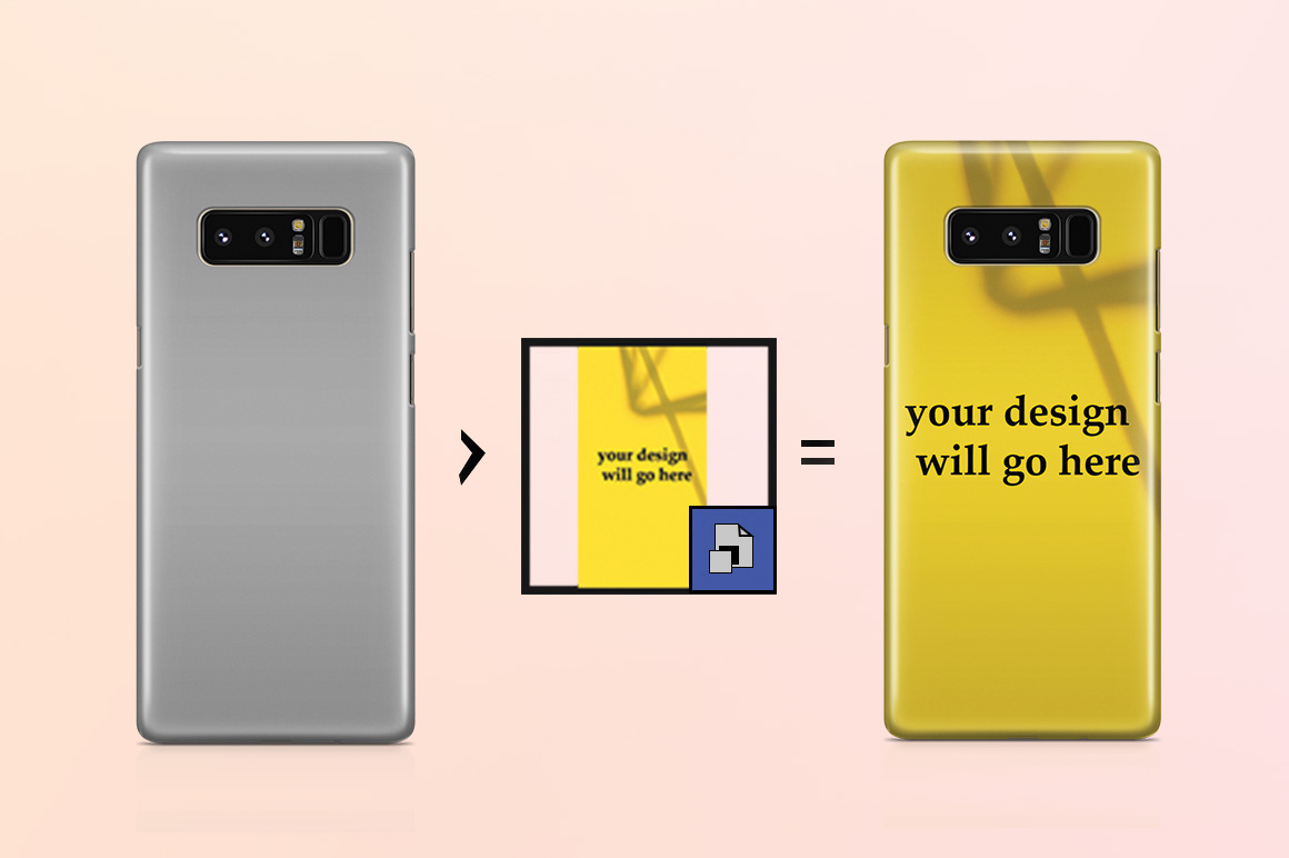 Samsung Galaxy Note 8 3d Case Mockup Back View