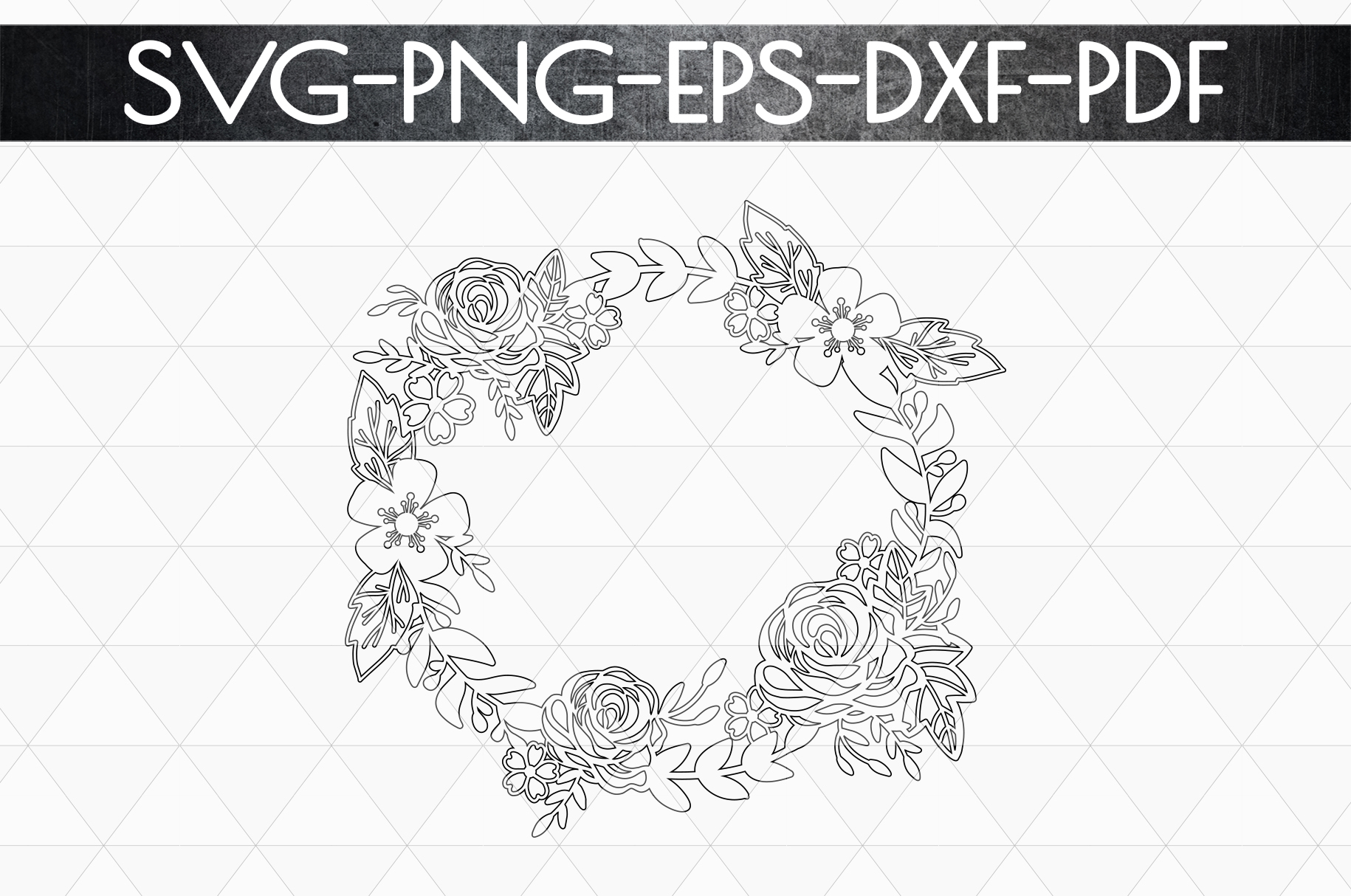 Floral Wreath Papercut Template, Spring Design SVG, PDF, DXF example image 5