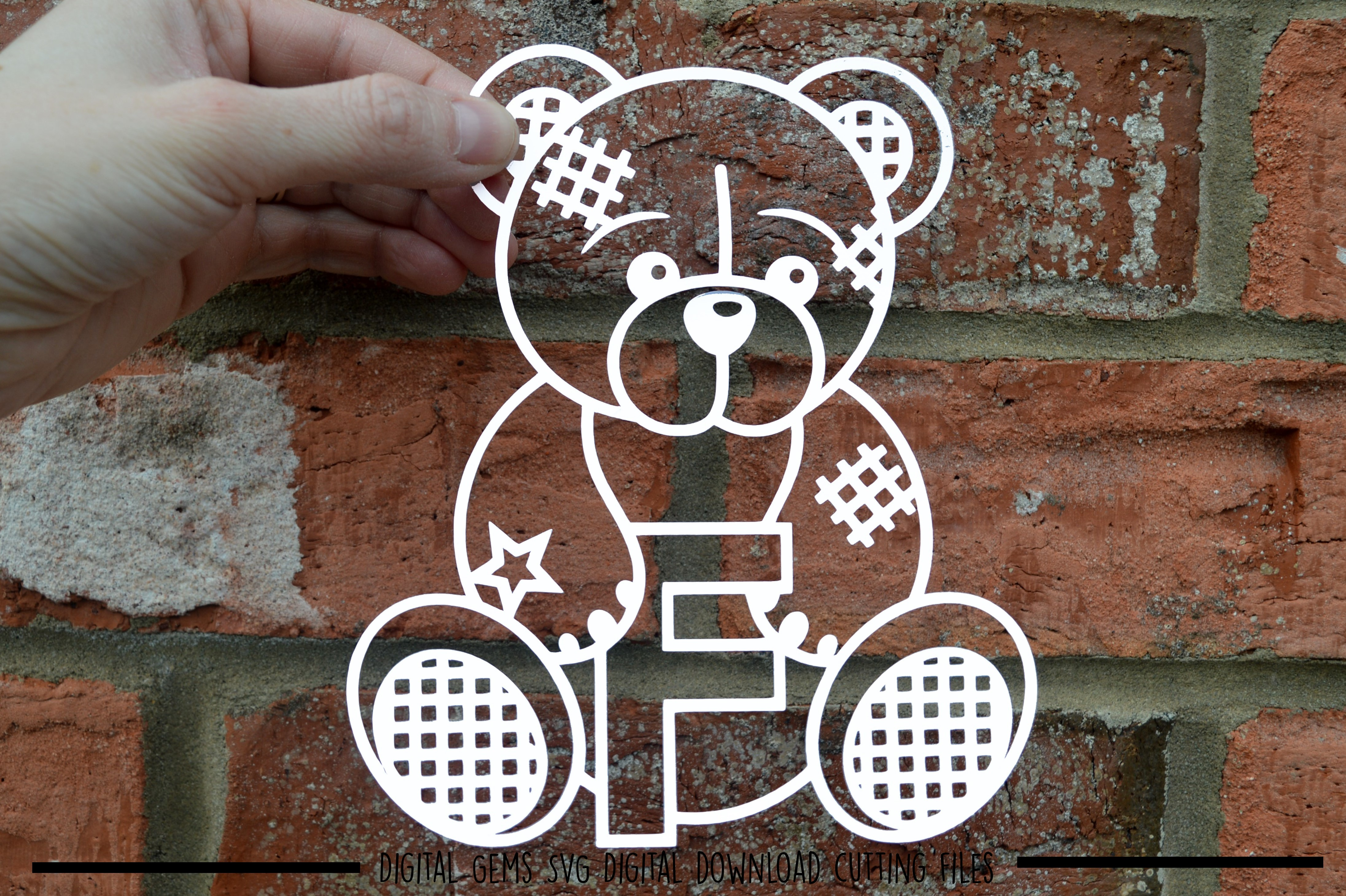 Alphabet teddy bear paper cuts SVG / DXF / EPS files example image 5