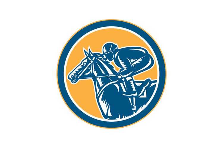 Jockey Horse Racing Side Circle Retro example image 1
