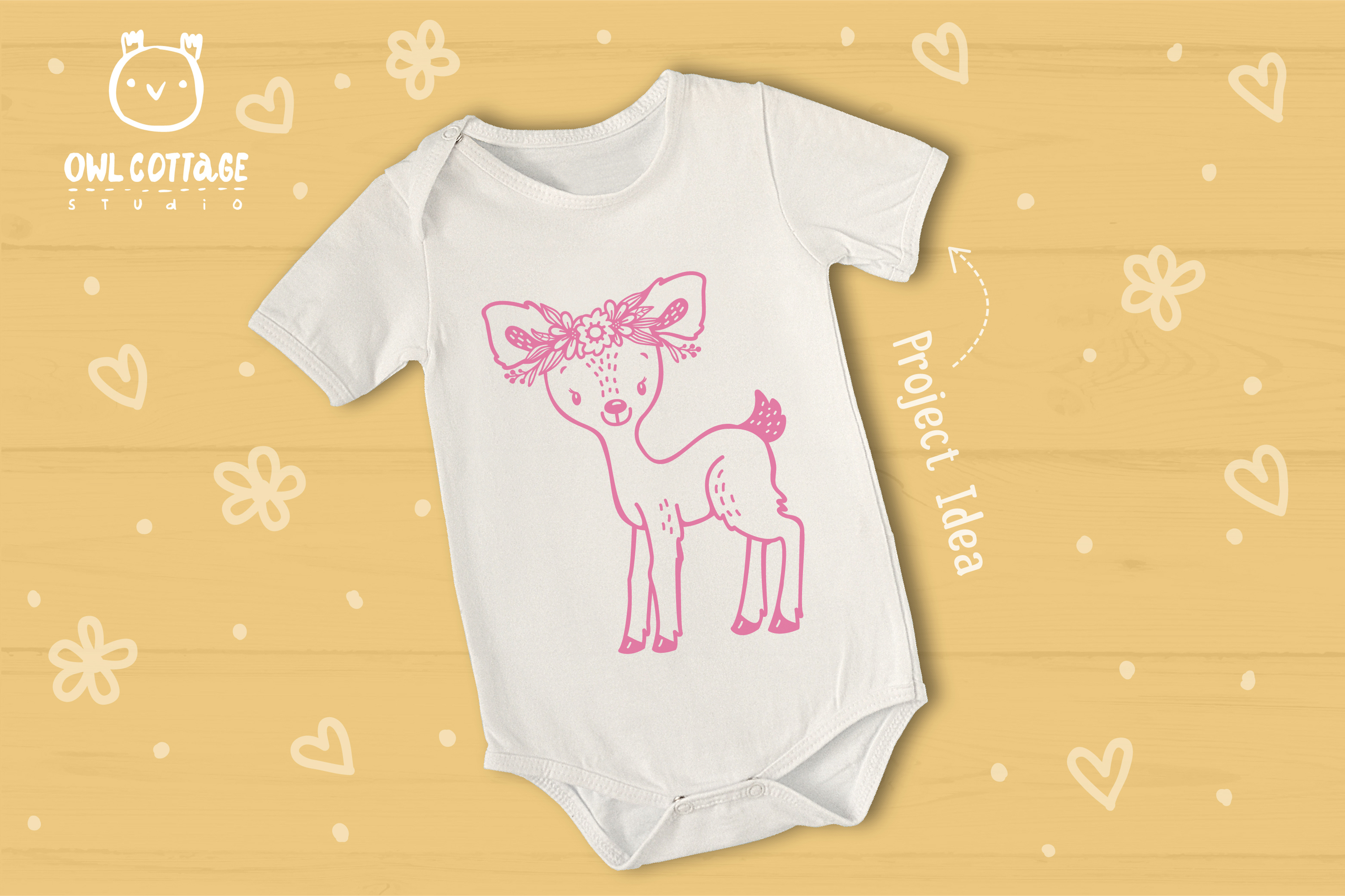 Baby Deer with Flowers Crown Svg , Favn Cut File example image 5