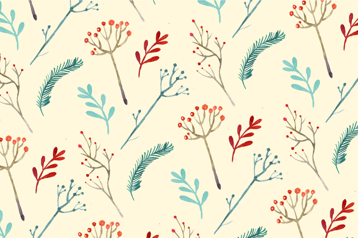 Christmas watercolor floral pattern example image 1