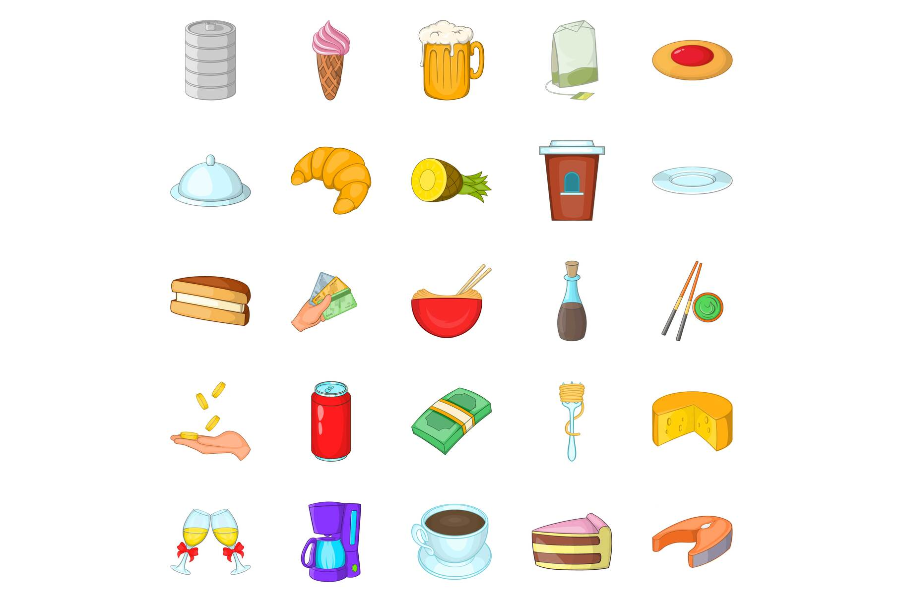 Coffee palace icons set, cartoon style example image 1