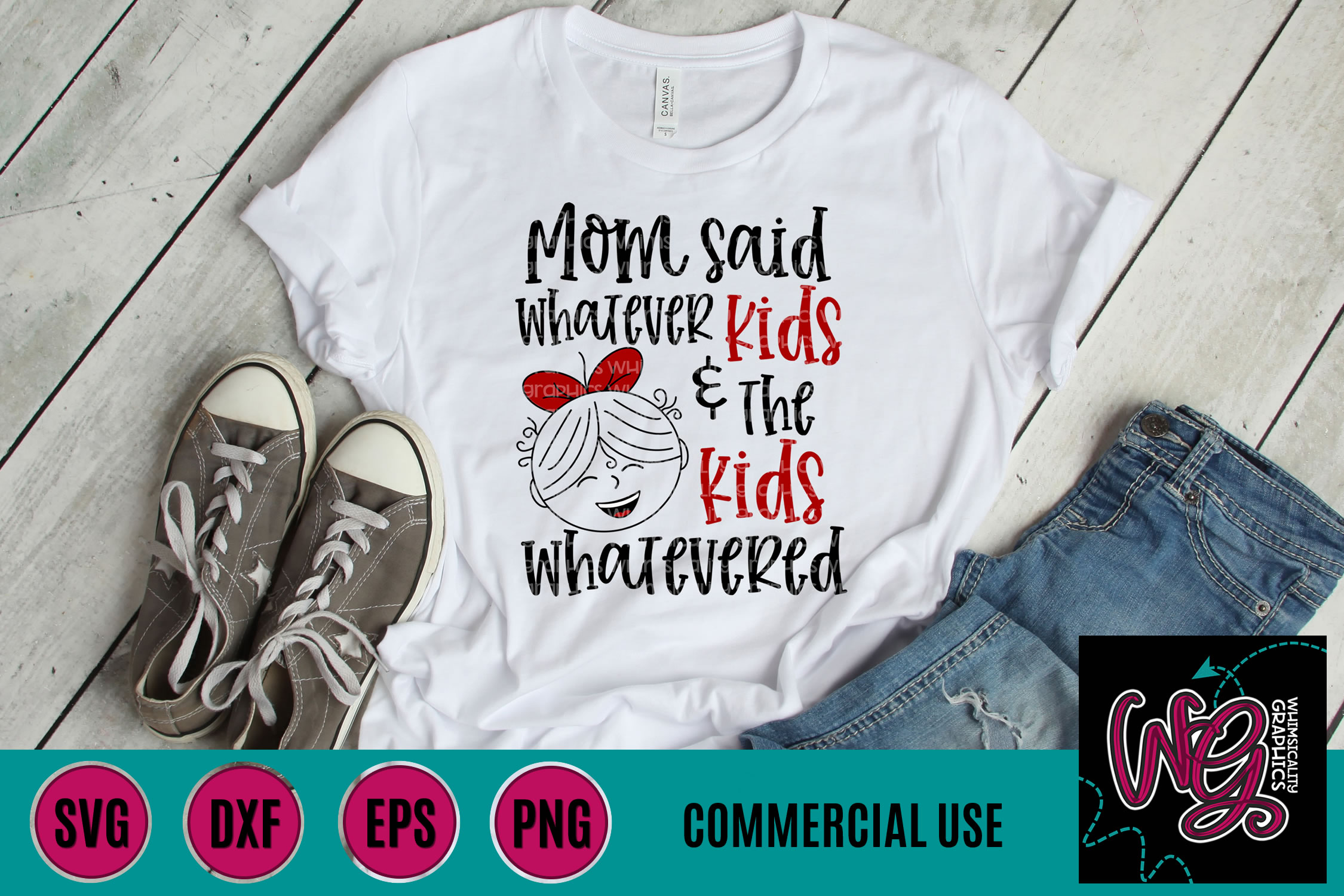 Kids Whatevered Girl SVG DXF PNG EPS Comm example image 1