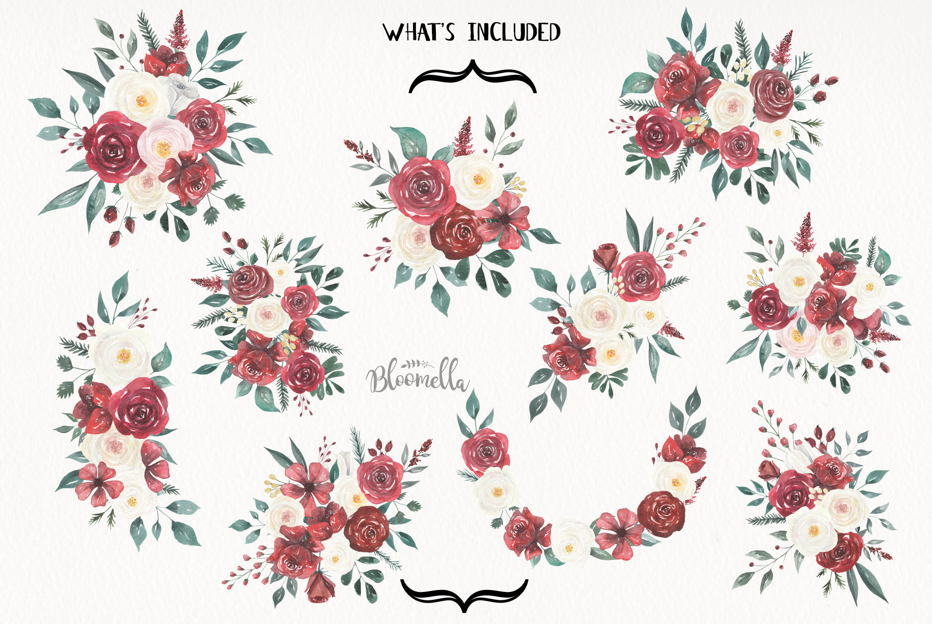 Watercolor Floral Deep Red Cream 10 Bouquets Flower Burgundy example image 8