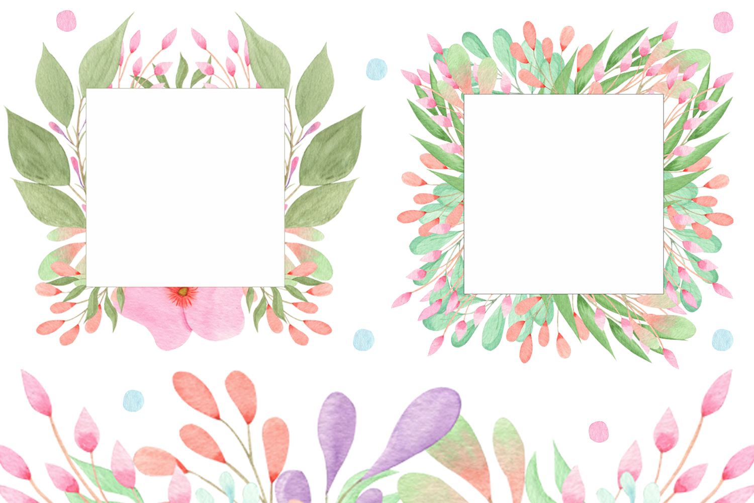 Watercolor Flowers and Leaves example image 4