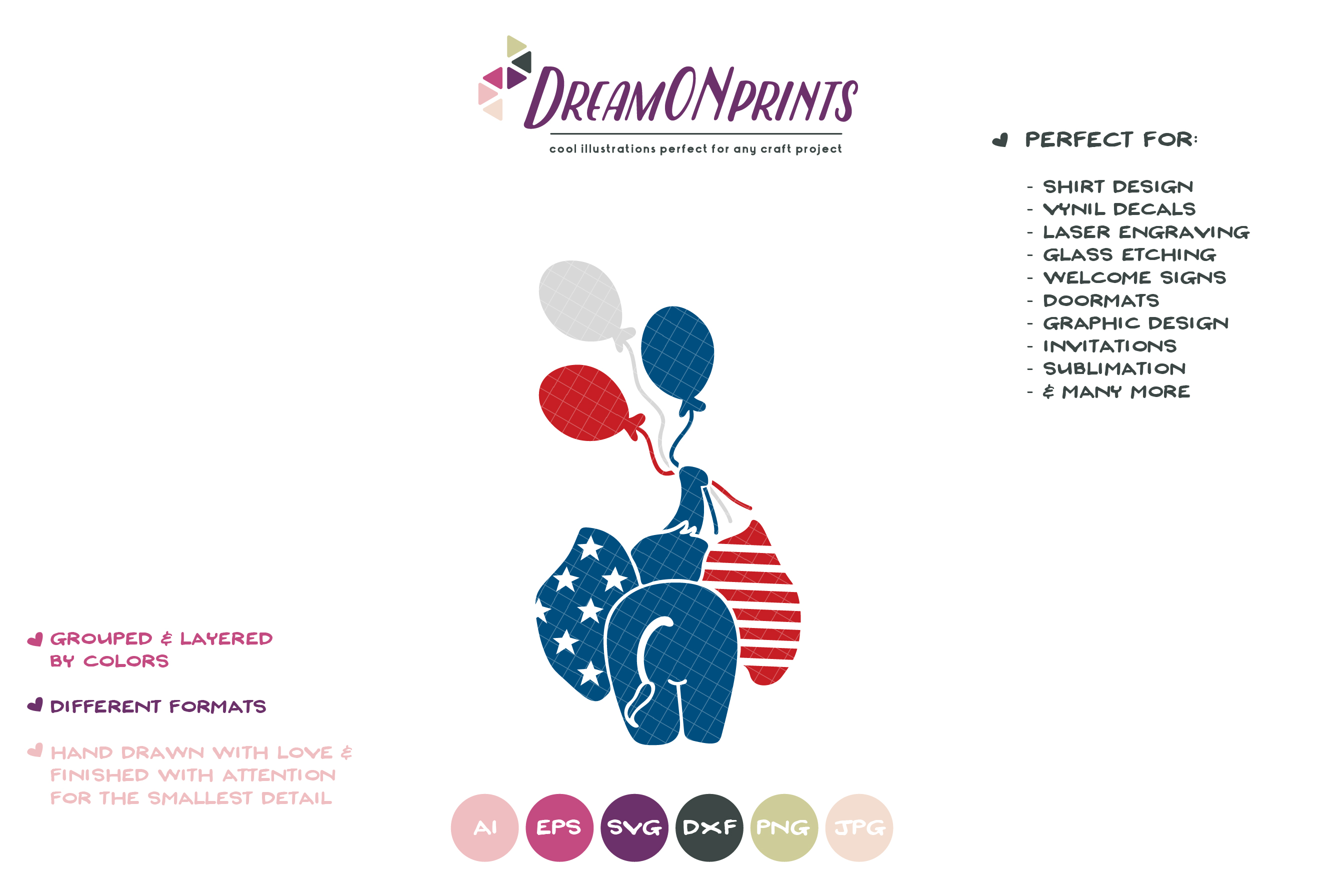 Patriotic SVG Cut File | Elephant with Balloons example image 2
