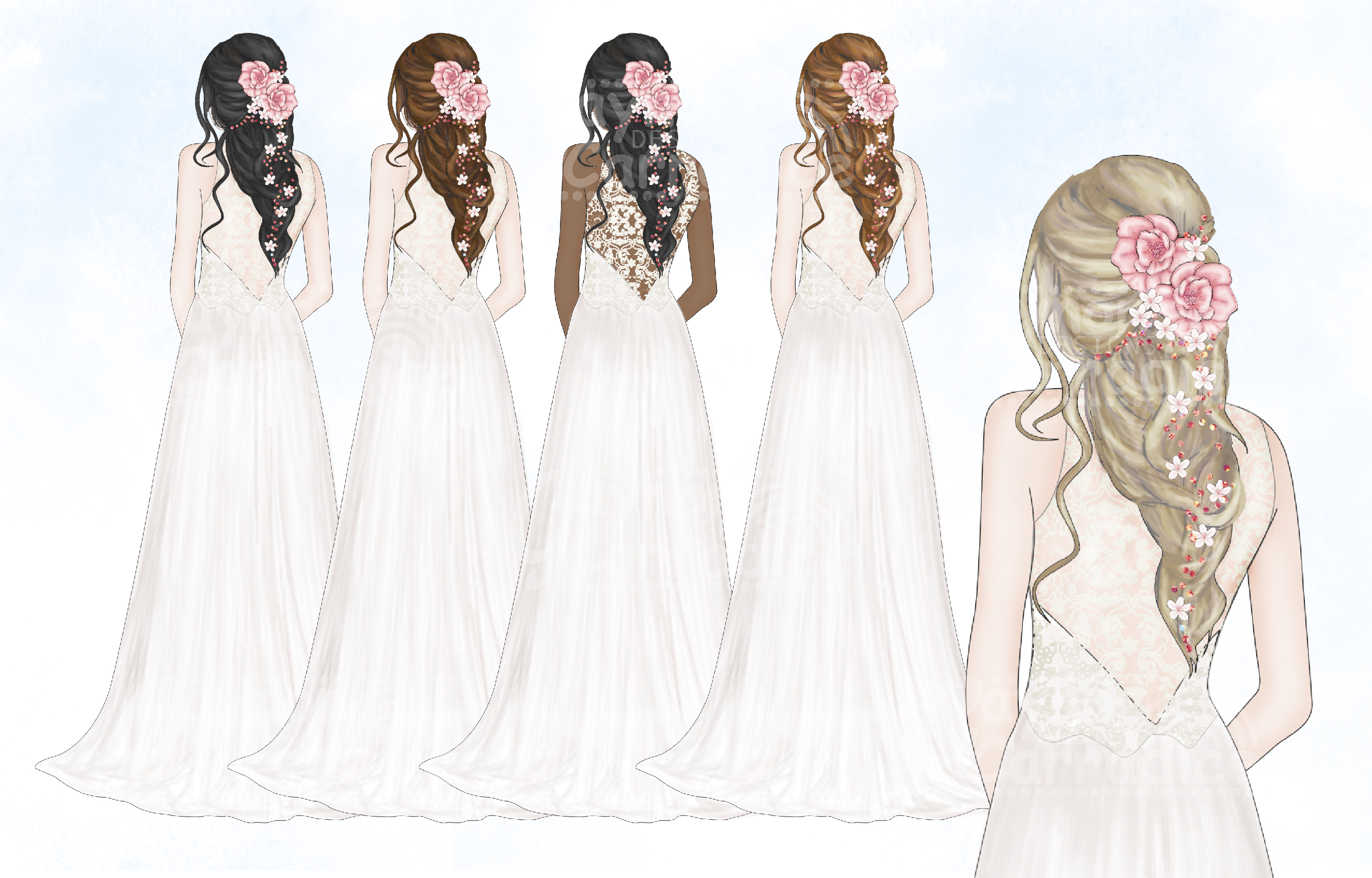Blush & Sage Wedding clipart collection example image 4