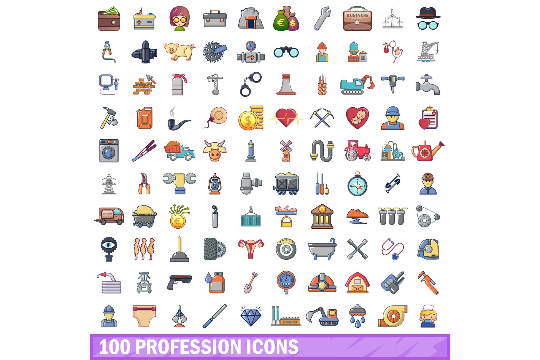 100 profession icons set, cartoon style example image 1