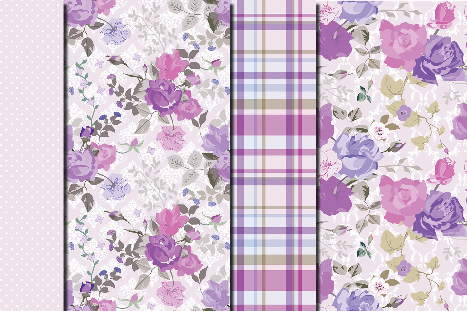 Shabby chic violet roses seamless digital paper pack example image 2