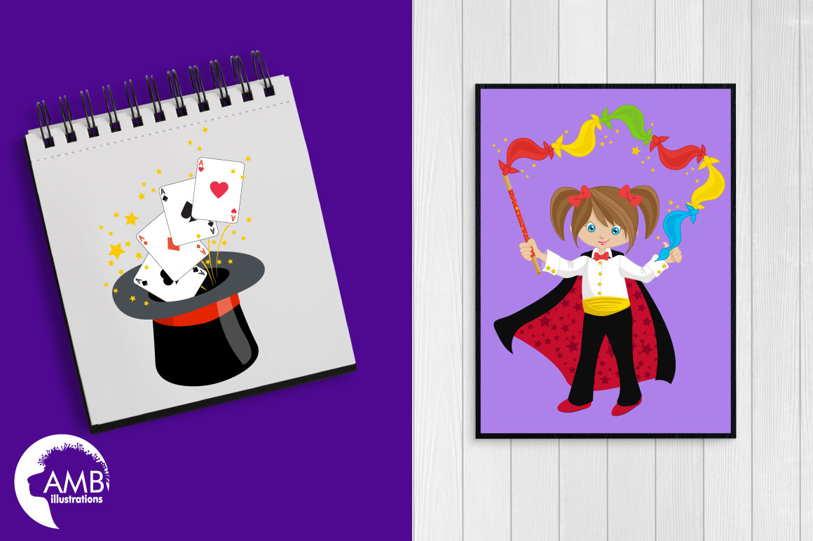 Girl's Magician Party clipart, graphics, illustrations AMB-1192 example image 3