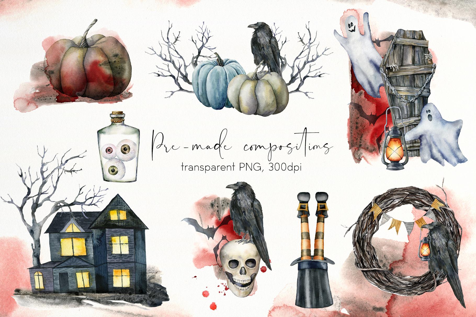 Halloween night. Watercolor clip art example image 5
