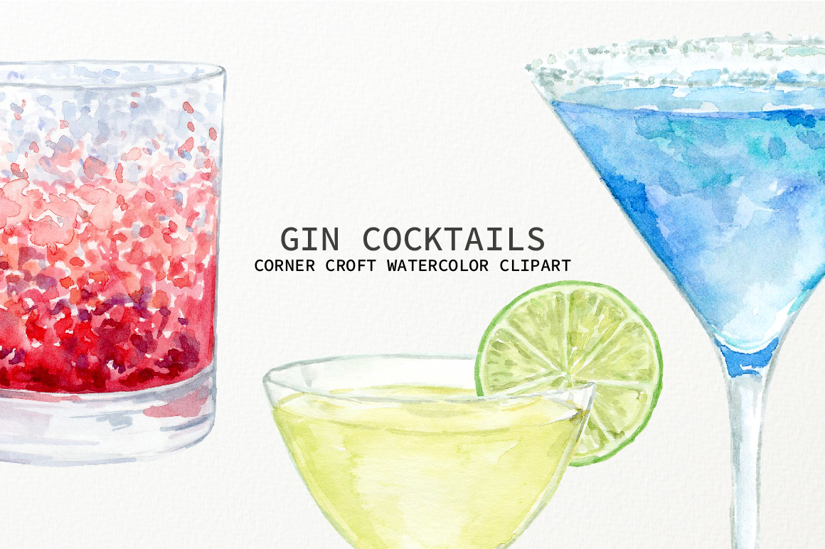 Watercolor Gin Cocktail Illustration and Prints example image 8