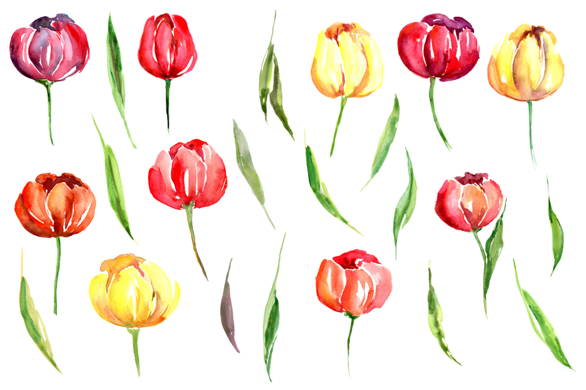Watercolor Spring Tulips PNG Flowers example image 2