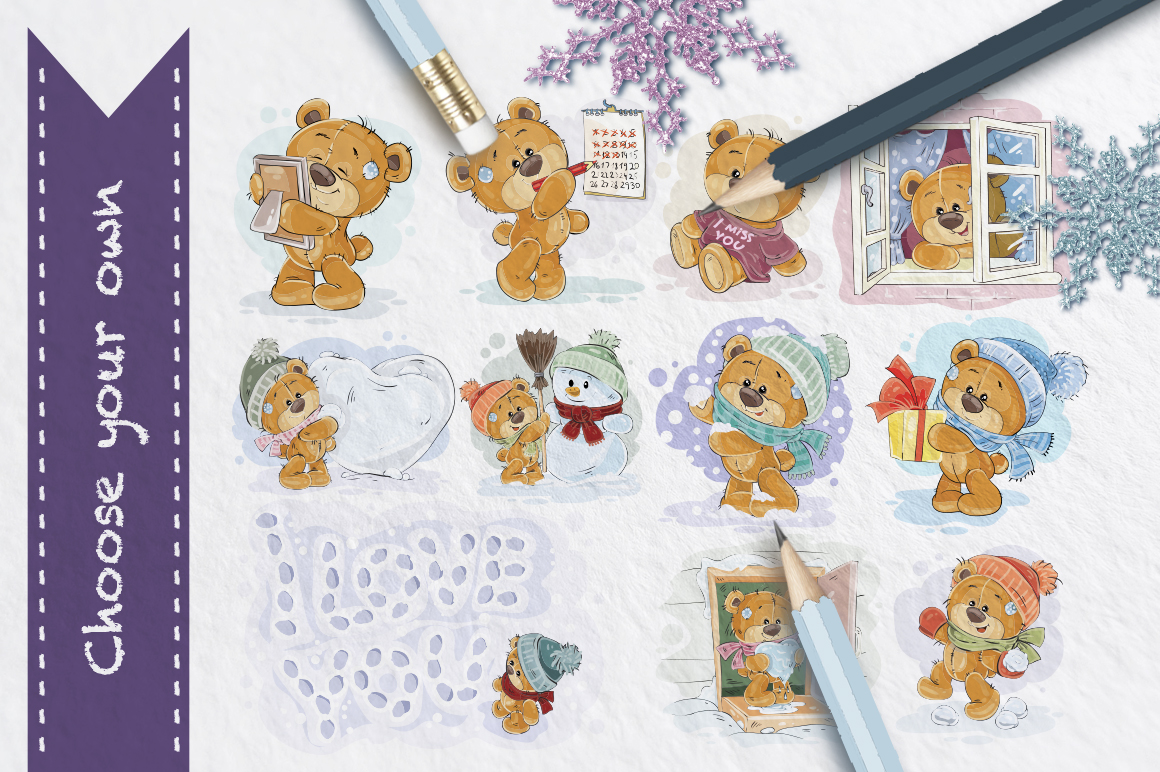 Teddy bears winter collection example image 4