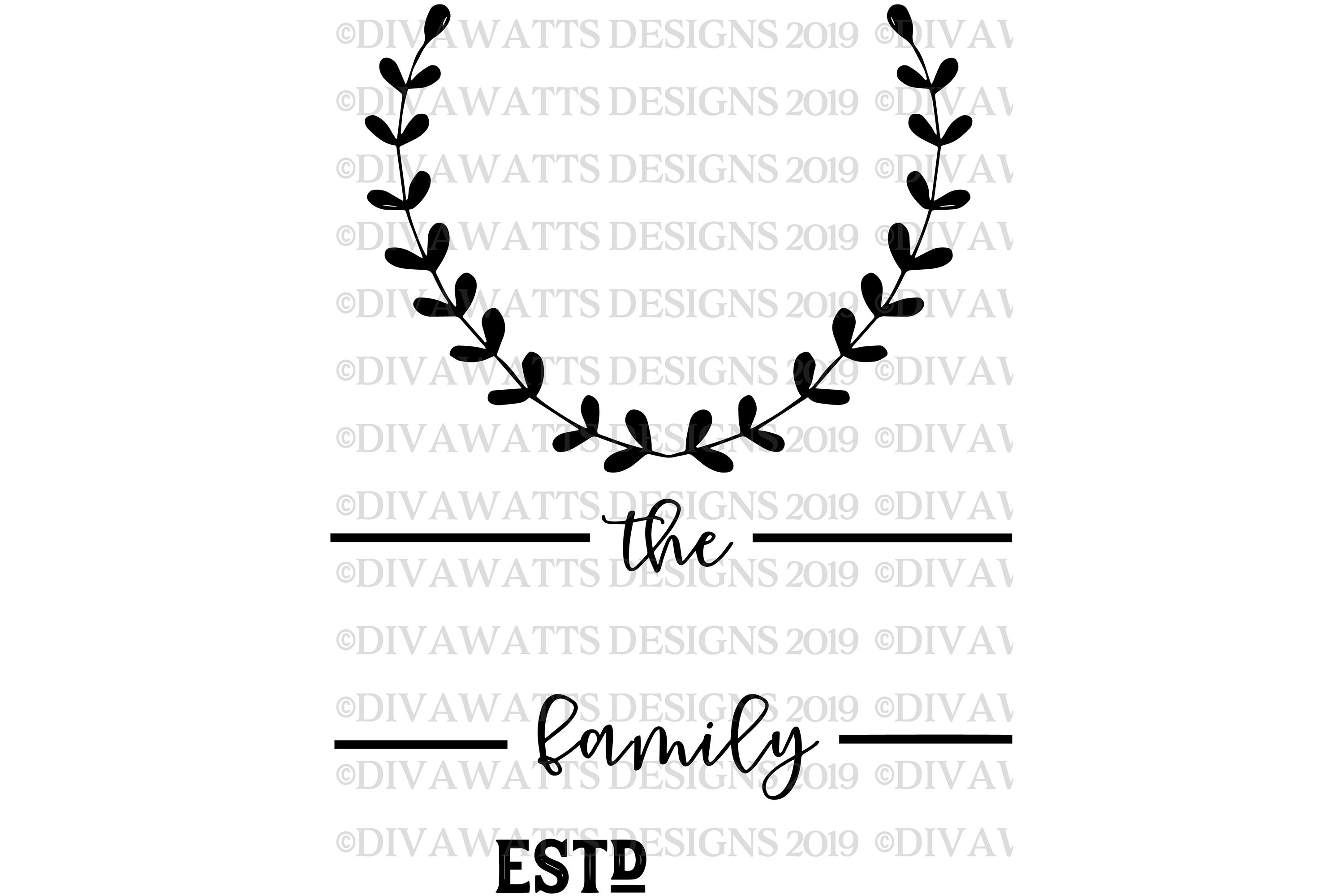 Monogram Laurel Family Sign with Year - Customize SVG example image 4