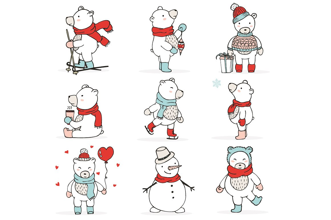 Christmas Bears Icons & Cards example image 4