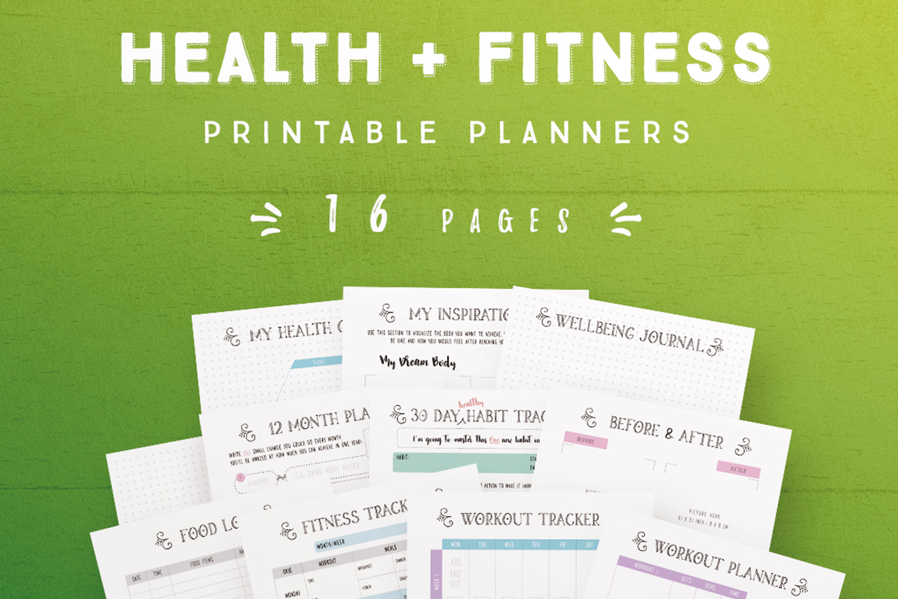Health and Fitness Printable Planners - 16 Pages example image 1