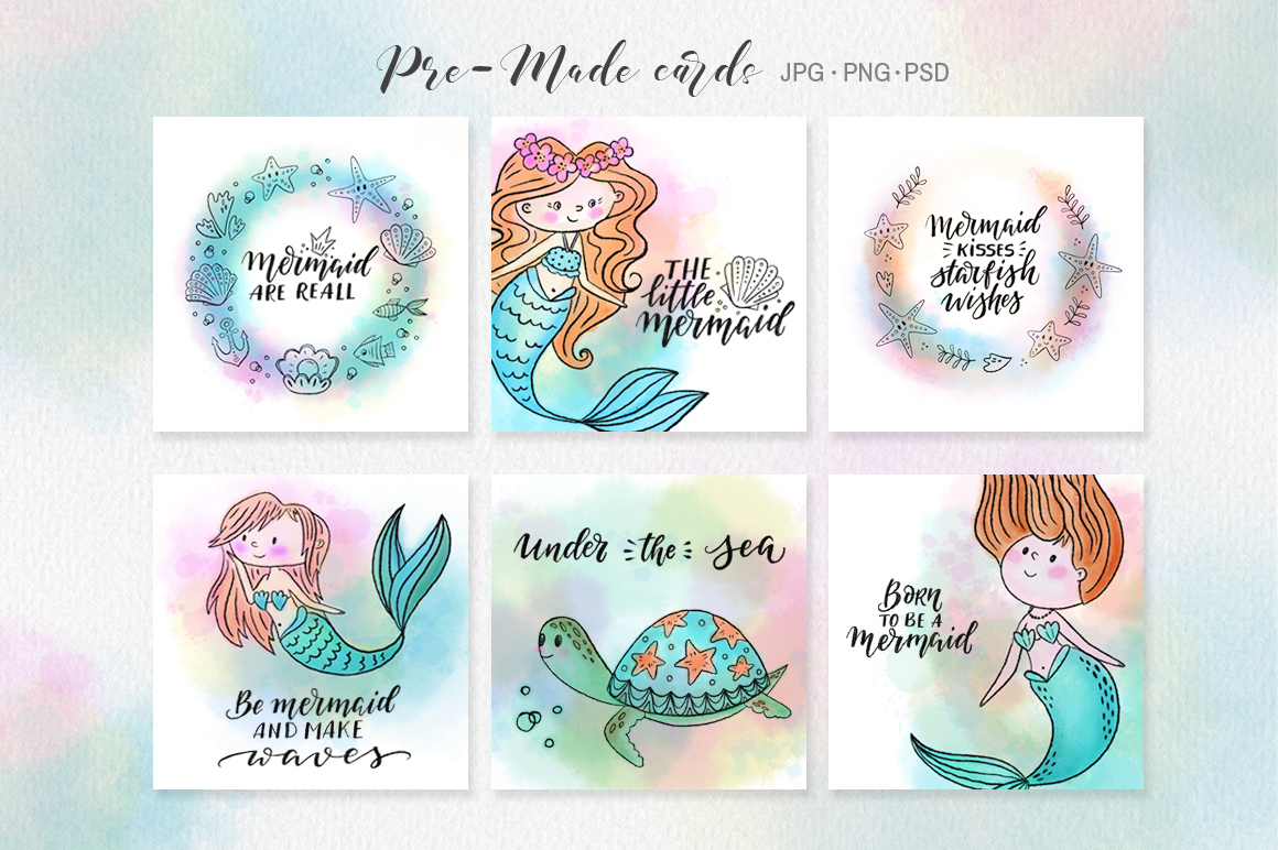 Mermaids watercolor collection example image 3