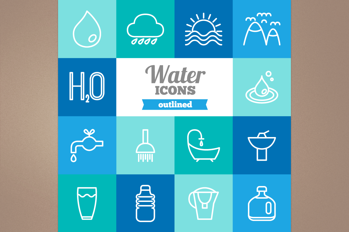 Outlined Water Icons example image 1