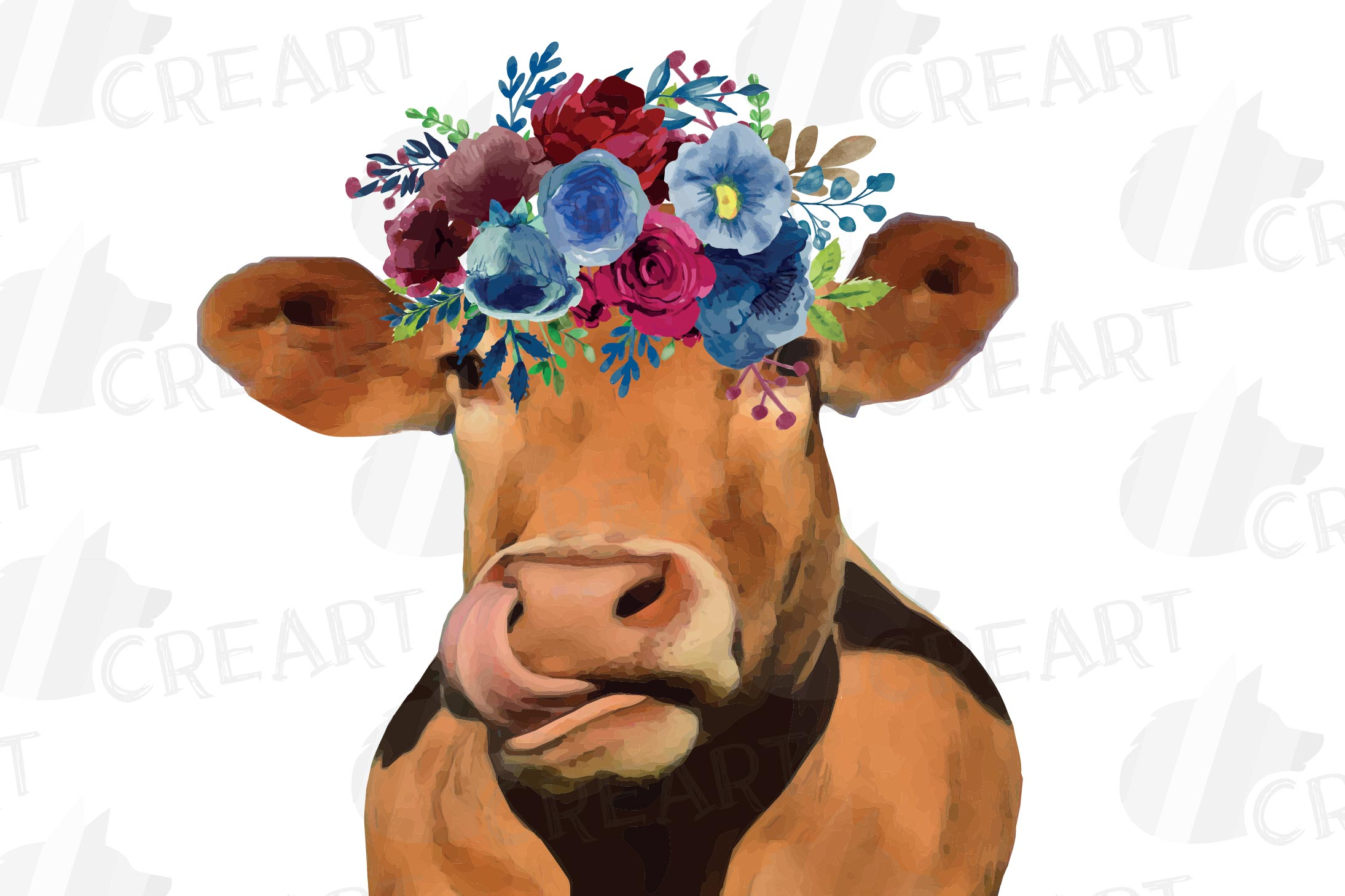 Floral cow printable gift graphic. Farmhouse wall decoration example image 5