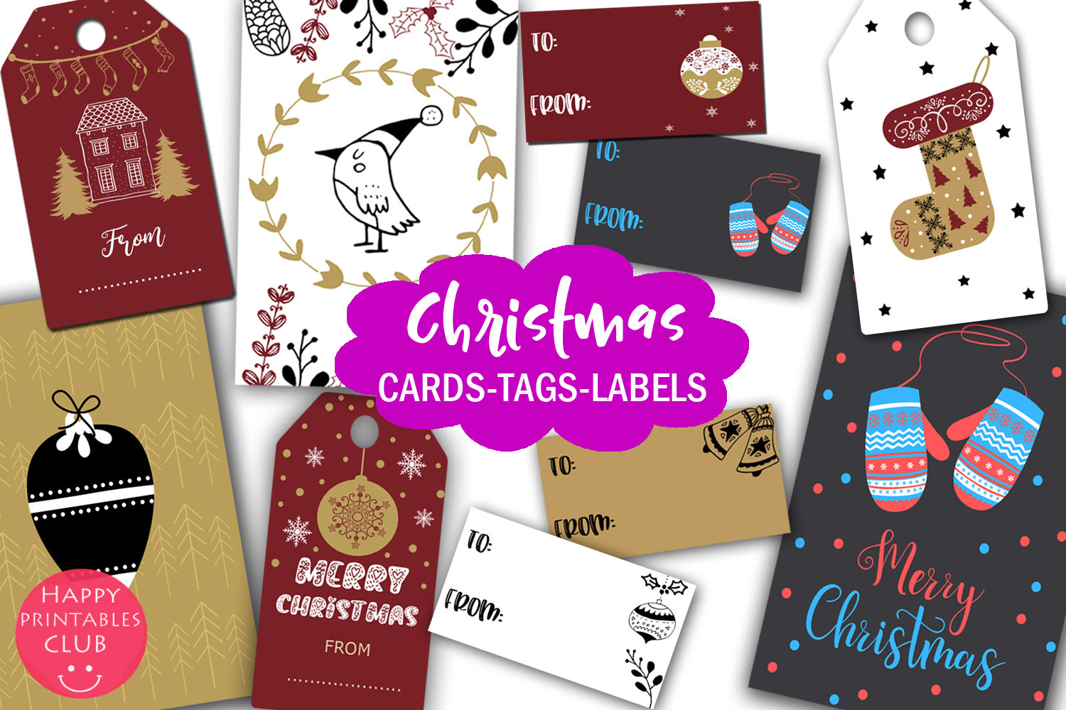 Christmas Cards-Gift Tags-Labels/Holiday Cards Tags Labels example image 1