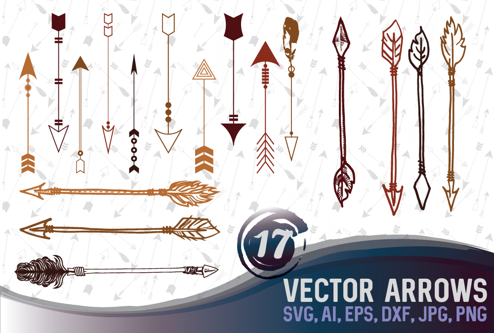 17 different arrow designs SVG, DXF, JPG, PNG, DWG, AI, EPS example image 1