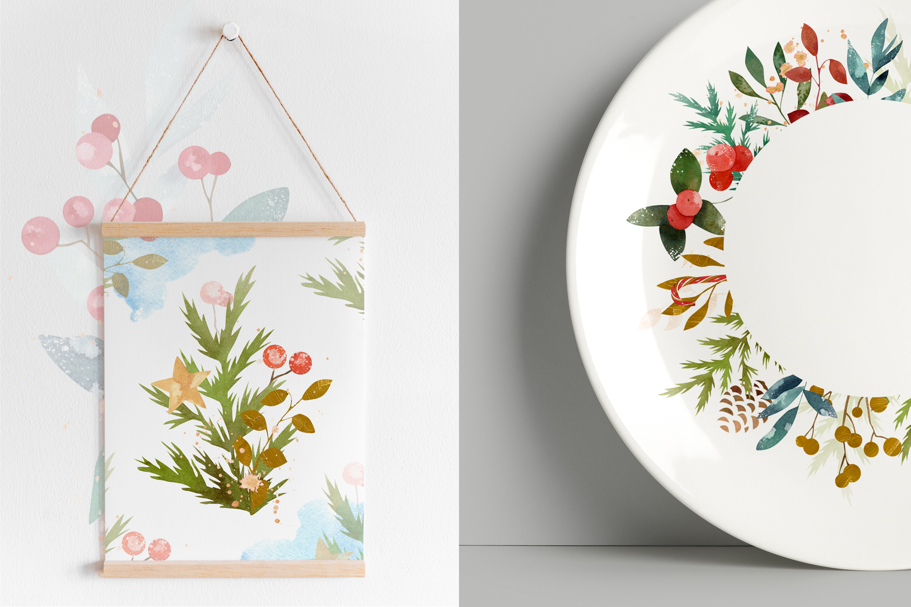 Merry Christmas Watercolor Design Set example image 11