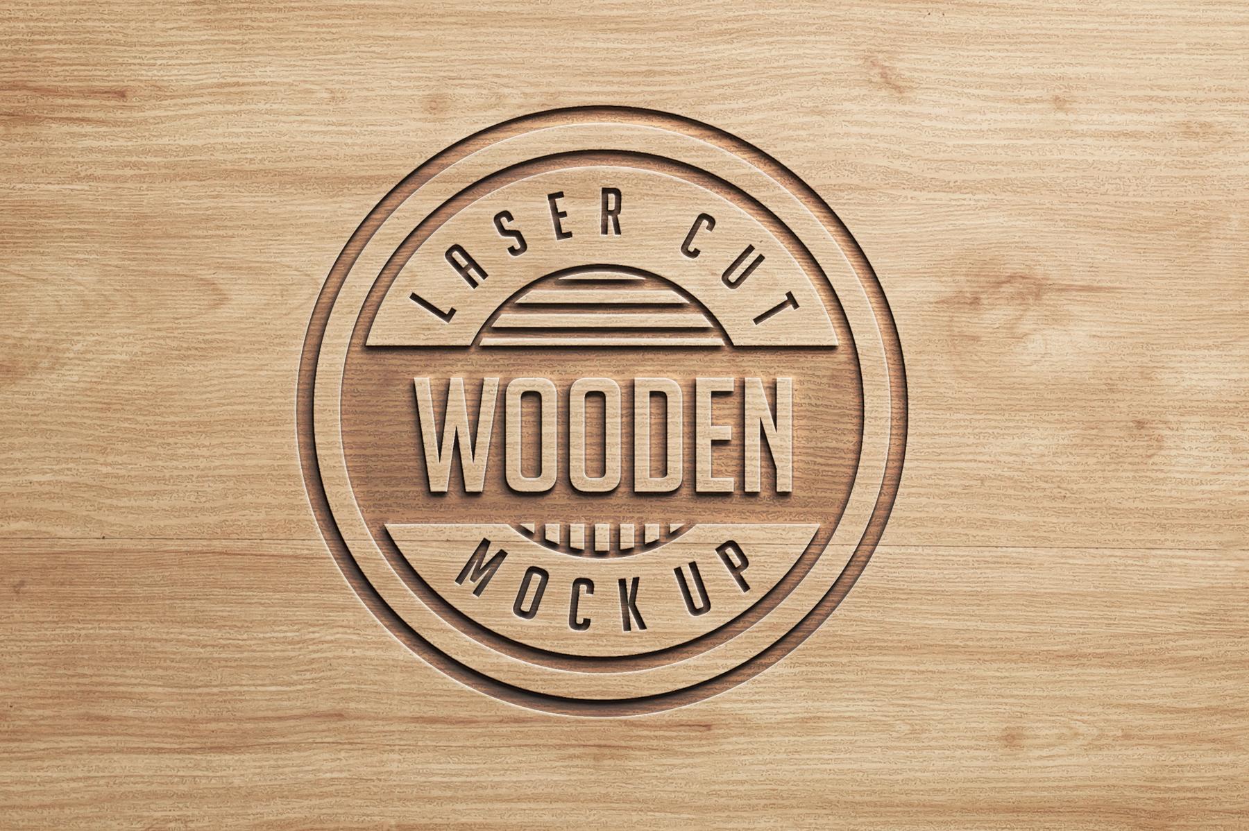 Logo Mock Ups  Wood Set example image 2