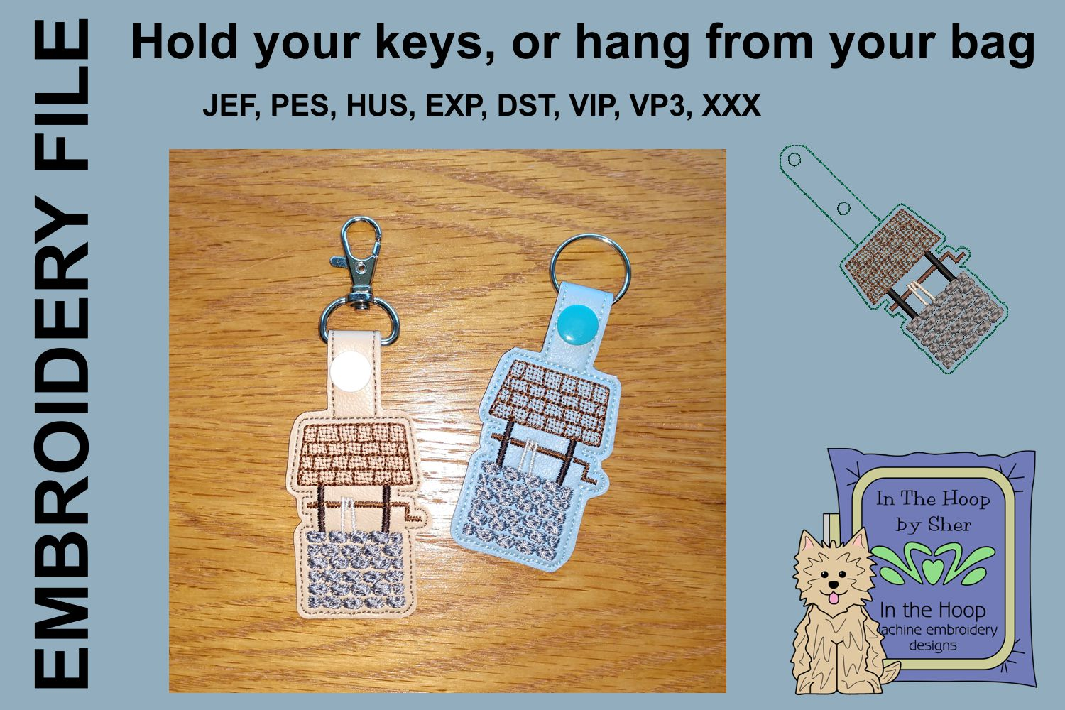 ITH Wishing Well Key Fob - Embroidery Design example image 1