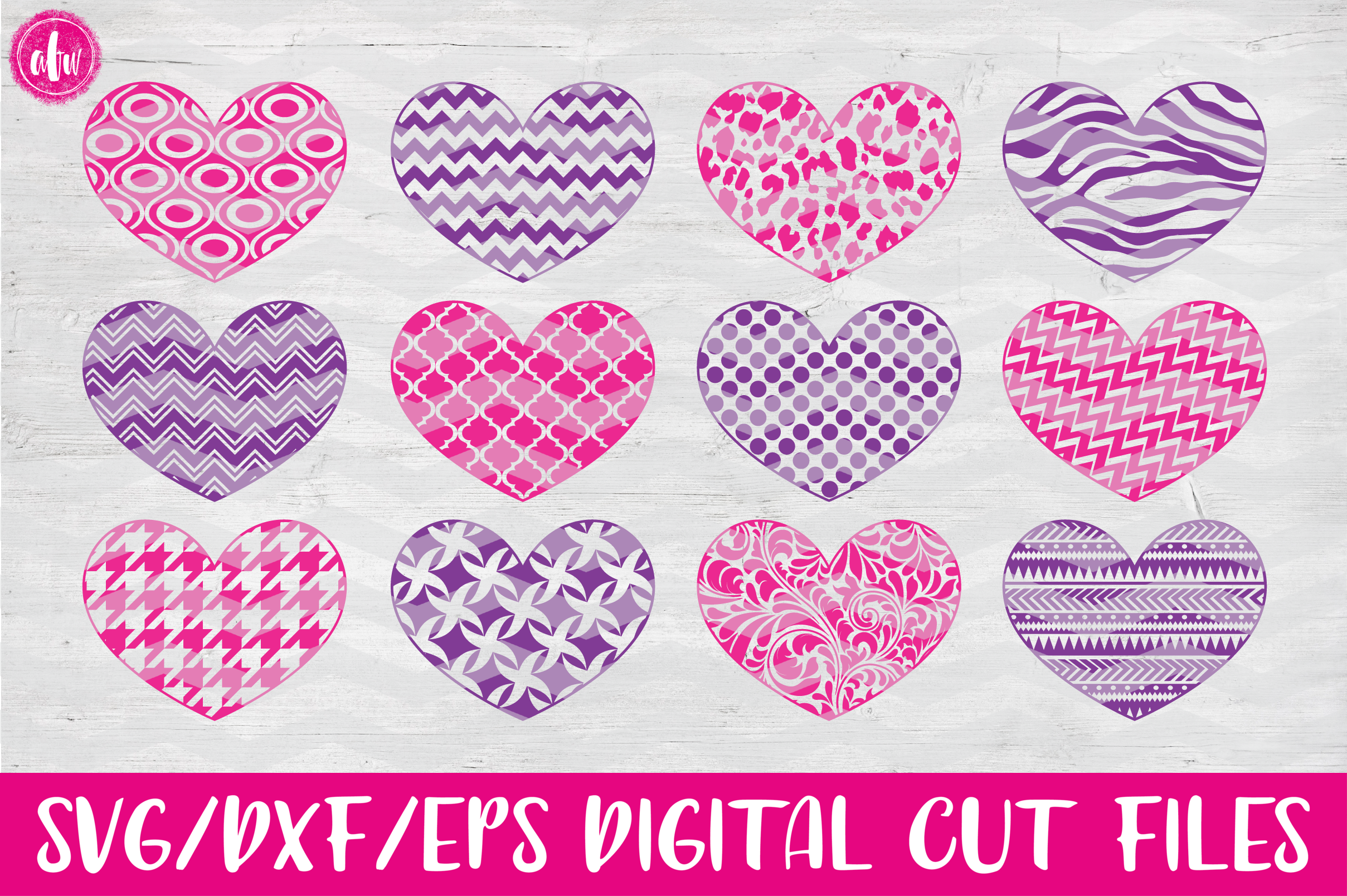 Pattern Hearts - SVG, DXF, EPS Cut File example image 1