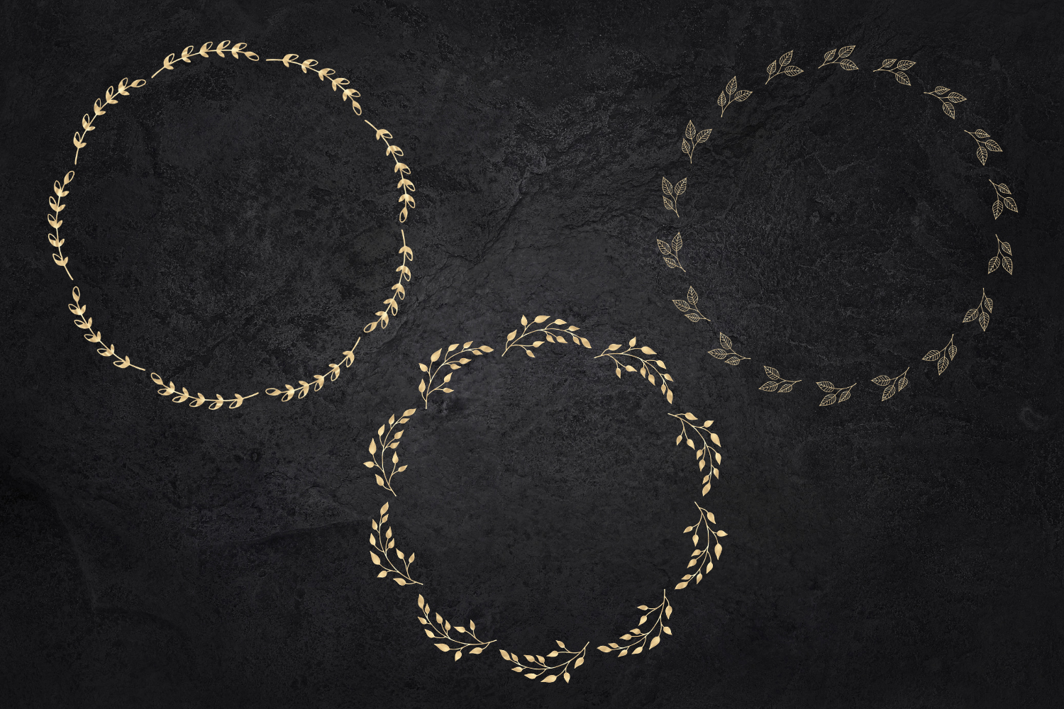 25 Gold wreaths clipart, Delicate Gold hand drawn overlay example image 2