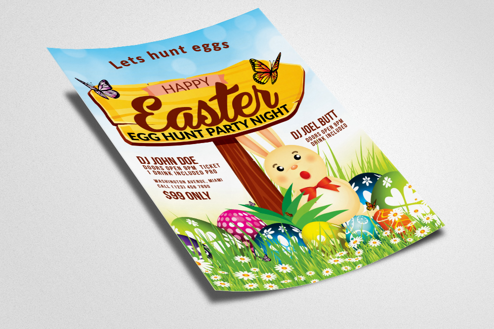Easter Egg Psd Flyer Print Template example image 3
