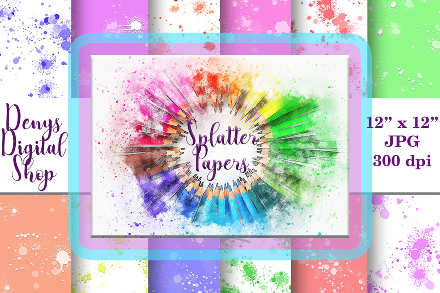 Splatter Digital Paper, Splatter Printable, Splatter, SALE example image 1